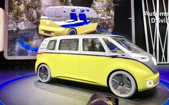 VW also showed its I.D. Buzz all-electric minibus concept, based on the I.D. bus concept shown last September in Paris. It will have a range of 270 miles, or 450 km, and 10 laser scanners will let it be driven either manually or autonomously. It's still just a concept, but the future's arriving faster than anyone expected.