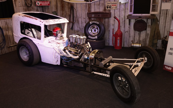 <p>This scrawny rat-rod is a cross between an early dragster and a chopped Ford '32 coupe.</p>