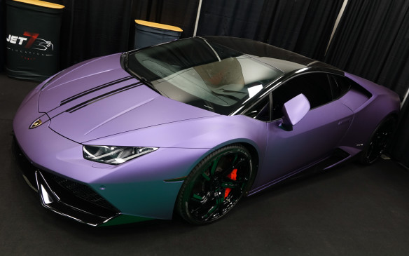 <p>This Lamborghini Huracán sports a unique, matte purple finish that truly sets it apart.</p>