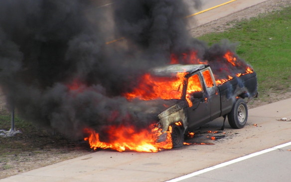"<p>A variation of that scenario, says Wood, involves pickup truck drivers who throw their cigarette out and the still-burning butt lands in the bed of the pickup. The smoldering butt can light all kinds of cargo ranging from cardboard boxes to sawdust and spilled oil accumulated on the floor of the bed. Some cargo doesn't even need an ignition source, notes Wood. ""Somebody was hauling old manure in their pickup truck on a hot day, and the stuff generated enough heat on its own to spontaneously combust!""  </p>"