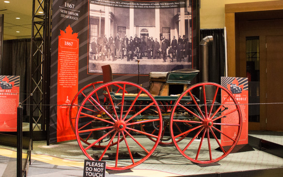 <p>Canada's automotive history is as old as the country itself, dating back to this Steam Buggy built in 1867 by Henry Seth Taylor, a watchmaker, jeweler, and businessman in Stanstead, Quebec. This reconstruction of that original now resides at the Canadian Science and Technology Museum in Ottawa.</p>