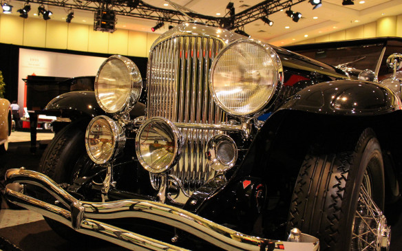 <p>The face of power, the Model J's front end is a statement in chrome. This car was originally owned by S.L. (Roxy) Rothafel of Roxy Theatre and Radio City Music Hall fame.</p>