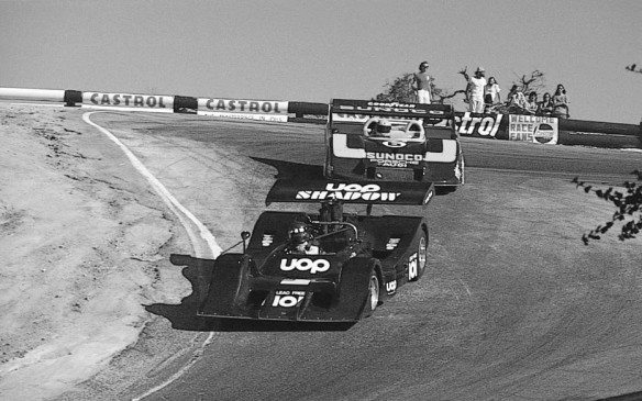 1973 Laguna Seca Can-Am race with Vic Elford leading Mark Donahue.