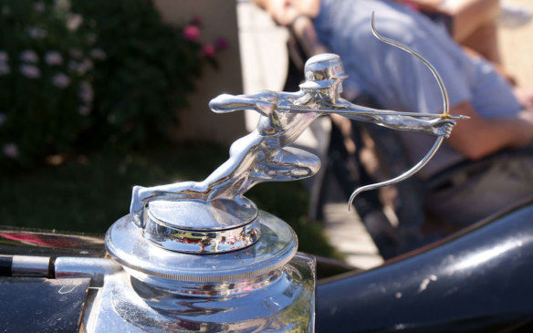 <p>Initially created to quickly gauge water temperature from the driver's seat, radiator-cap ornaments became prestigious design cues once carmakers decided to dress up the temperature gauges, and many companies began hiring artists to define their brands. Case in point: the helmeted archer adorning a 1929 Pierce Arrow. (Credit: Wikipedia/Valder137)</p>