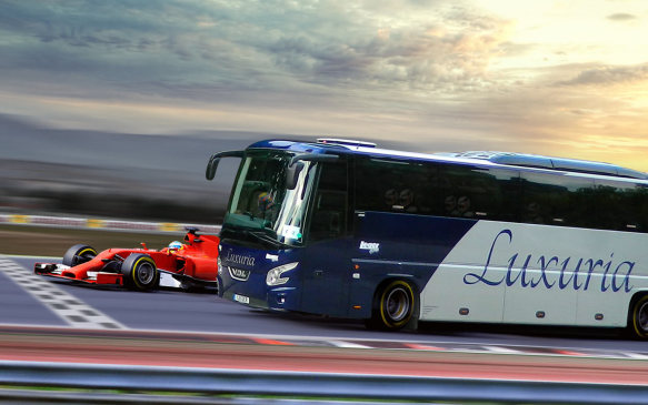 <p>Luxury coach tour operator Leger decided to offer its upscale clientele an exclusive opportunity to experience the Formula 1 track experience. The 5-day excursion would take guests to an Formula 1 race weekend, complete with VIP paddock passes and a lapping session … in the bus. All the seatbacks had screens to display the action from a front-bumper camera, so it didn't matter that you were seated several rows back strapped in with a safety harness and wearing a helmet. Even the sounds were authentic, with the aerodynamically-sound coach powered by a 10-litre V-16 turbodiesel putting out in excess of 1000 hp and 3615 lb-ft of torque.</p>