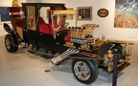 <p>The Model T also provided the base for one of George Barris' most notable creations - the Munster Koach, for The Munsters television series (and follow-up feature film Munster, Go Home!). Designed by Tom Daniel, only one was ever made, from a pair of Model T chasses, welded together to make a 3,378-mm frame and 5,500-mm overall length (about 18 feet). Of note is that star Fred Gwynne, who stood 6-foot-5 before he put on the 4-inch platform boots for the role of Herman Munster, sat on the floor when he drove the Koach. (Credit: Wikipedia/Bahooka)</p>