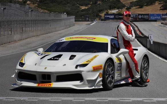 Michael Fassbender with Ferrari Challenge car