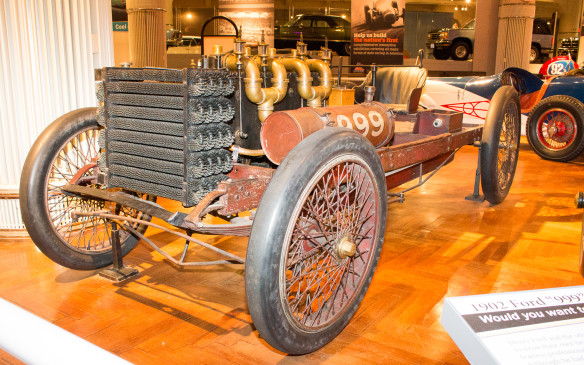 <p>Perhaps the most important car in the collection is 'Old 999' – one of two such cars built by Henry Ford in 1902. Former bicycle racer Barney Oldfield drove the monstrous car, with an 1156 cubic-inch (18.9-litre) four-cylinder engine, to victory in a match race in Detroit with Alexander Winton, then the most prominent automaker in the U.S.A.</p>
