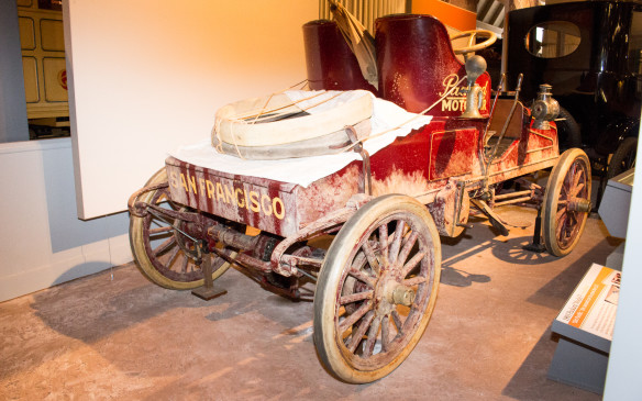<p>In a race against time, rather than another car, this 1903 Packard Model F Runabout was the second automobile to travel across America coast-to-coast. Tom Fetch, Packard's plant foreman, and Marius C. Krarup, a journalist, made the trip from San Francisco to New York in 61 days, three days faster than the record set a month earlier in 1903 by Horatio Nelson Jackson in a Winton. </p>