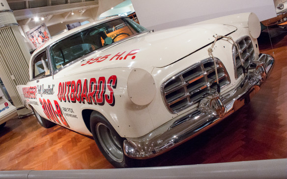 <p>By the mid 1950s, NASCAR was in its ascendancy and the stars of the show were Carl Kiekhaefer's Chrysler 300Bs. In 1956 they won 22 out of 41 races, including 16 in a row. This was one of the cars Buck Baker drove on his way to becoming the NASCAR driving champion in 1956. Unlike modern NASCAR racers this is a real production car, modified for racing. </p>