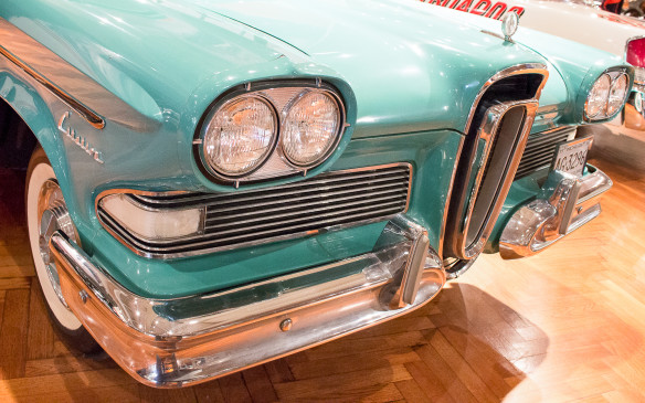 <p>From the same era, the 1958 Edsel – named for Henry's son – took a different styling approach, without fins but with an infamous 'horse-collar' grille. Neither the Edsel nor the DeSoto survived the early '60s.</p>