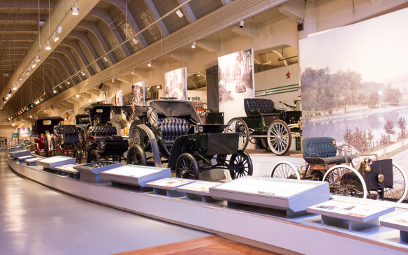 <p>At the core of the exhibit, however, is a timeline of the automobile in America, featuring key models in the evolution of the car from Henry Ford's first Quadricycle through the 1990s.</p>