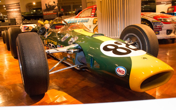 <p>Perhaps the most valuable racer in the collection is the fully restored Lotus 38 driven to victory by Jimmy Clark in the 1965 Indianapolis 500. It was the first victory for both Ford and a rear-engined car in the Greatest Spectacle in Racing, effectively spelling the death knell for the traditional front-engined Indy roadster.</p>