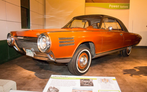 <p>By 1963, Chrysler's styling was taking a different direction, embodied by the 'fuselage' look of this gas-turbine powered experimental car, with obvious turbine-related design cues as well. Fifty of these cars were built for testing but most were eventually scrapped. The Henry Ford car is one of the few survivors.</p>