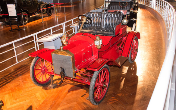 <p>Contrary to popular belief, bright colors were the norm on Ford cars, including Model Ts, prior to 1914. As shown on this 1908 Model S, they included bright red.</p>