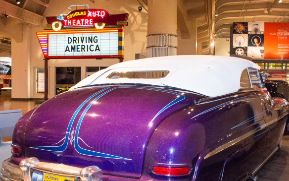 "<p>The theme of the automotive exhibit within the multi-faceted museum is ""Driving America"" - a three-dimensional treatise on the automobile and its impact on American life in all its forms, including the customized '50s-era Mercury shown here.</p>"