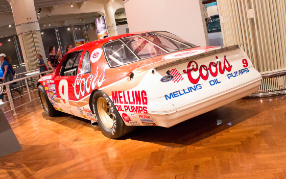 <p>Long-time Ford racer and 1988 NASCAR champion Bill Elliott drove this 1987 Ford Thunderbird 'stock car' to a then-record speed of 212.809 mph (342.483 km/h) at Talladega in 1987.</p>