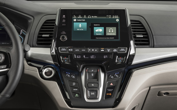<p>Should it become necessary, those in the front row can touch a button on the infotainment screen allowing them to speak to those in the rear through the speakers back there, interrupting the signal from the in-vehicle entertainment system should the wireless headphones be in use. </p>