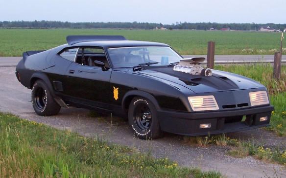 "<p>The Last of the V-8 Interceptors was borrowed by ""Mad"" Max Rockatansky to exact revenge on the motorcycle gang that ran down his wife and child. It was designed by John Dowding and created by Melbourne's Graf-X International from a 1973 Ford Falcon XB GT Hardtop. It's chock full of interesting features, such as eight side pipes, but is most famous for the protruding supercharger that could be switched on and off as needed for power or to save fuel.</p>"