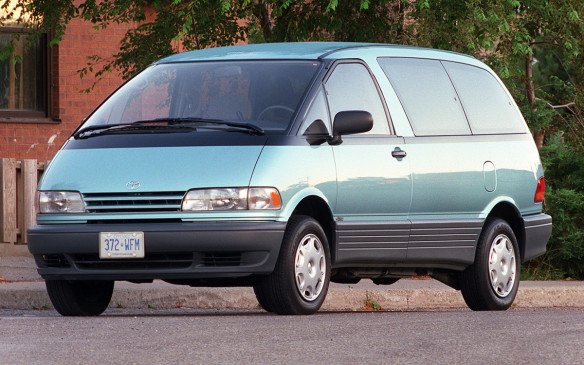 <p>Although it's difficult to find out exactly what the Prancer started out as, it's generally accepted from B-pillar, front quarter windows and roofline, that it was likely a Toyota Previa minivan. Plus, the initials match. Previa was considered quirky when it was launched in 1990, what with its mid-ship 4-cylinder engine mounted under the front seats powering the rear or all four wheels through 4-speed auto or 5-speed manual gearbox, and an accessory driveshaft running things such as the air-conditioning, radiator fan, alternator and power steering under the hood.</p>