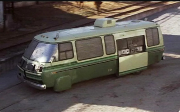 <p>Speaking of George Barris, he was also responsible for the motorhome-turned-tank in the 1981 Bill Murray romp Stripes. The EM-50 is a military vehicle done up to allow spies to operate deep behind enemy lines in the guise of a family vacation vehicle. It's an armour-enhanced motorhome tricked out with machine guns, rocket launchers, flame throwers and then-military-surveillance (but now common-consumer) systems such as GPS, satellite link-ups, etc.</p>