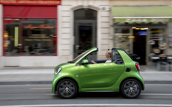 <p>The original Smart Fortwo electric car debuted in 2007, and the new 2018 model is already the fourth generation of its technology. Its styling is tweaked slightly, but it's still instantly recognizable as a Smart.</p>