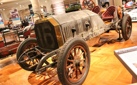<p>In 1908 George Robertson drove this 1906 Locomobile to victory in the Vanderbilt Cup, America's first great automobile race. It marked the first time an American car had won a major international road race. Built at a cost of $20,000 (at a time when a decent house could be had for $1,500, it is typical of pre-World War I race cars: a huge engine (990 cu. in.(16.2 litres)); mechanical brakes on the rear wheels and the transmission only; and minimal bodywork. A riding mechanic kept fuel and lubricating oil flowing and helped the driver change tires. </p>