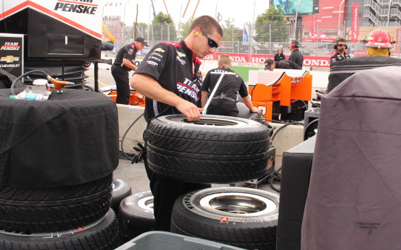 <p>Rain tires were abundant in the pits based on weather forecasts but despite threatening skies and occasional showers they were not needed while the cars were on track.</p>