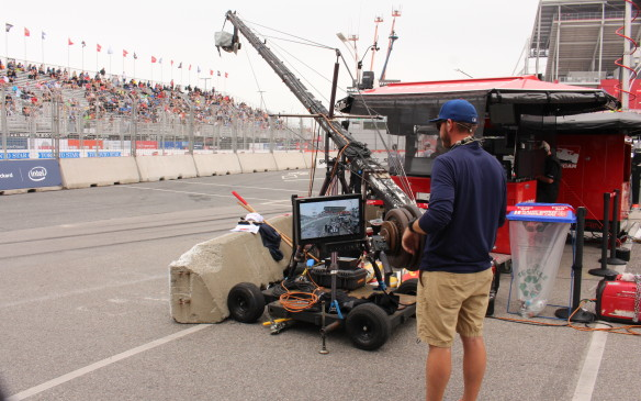 <p>Ever wonder how the TV crews get those great shots of cars exiting the pits? This is how.</p>