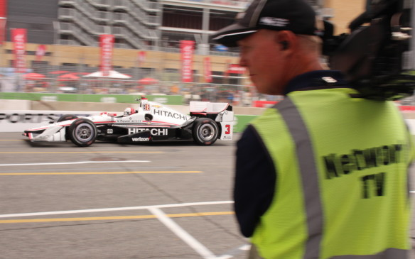 <p>Helio Castroneves was fastest in the first practice session, but others overtook him as the weekend progressed.</p>
