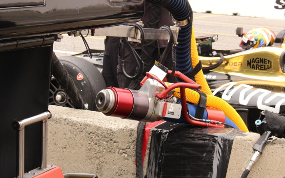 <p>The fuel hose used on race day is huge and the fuel filler, which seals tightly to the car, is complex in its construction.</p>