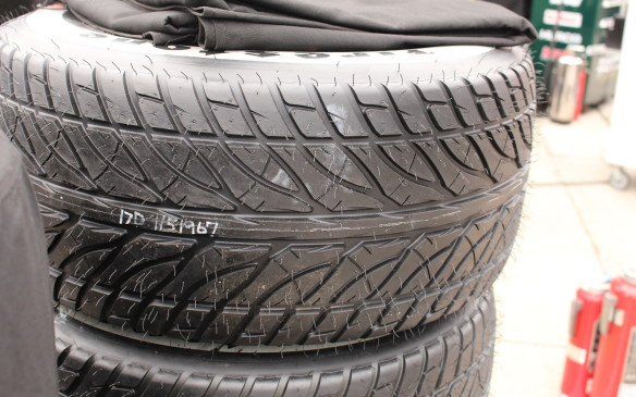 <p><strong>Fresh out of the mold</strong></p> <p>It was readily apparent from the mold flash on the tires that they have never been used. Note the deep, wide grooves for evacuating water.</p>