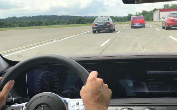 We approached a dummy car at 80 km/h with vehicles in each lane beside it, and the S-Class hit the brakes with no input at all from the driver. We stopped safely a couple of metres short from the dummy car.