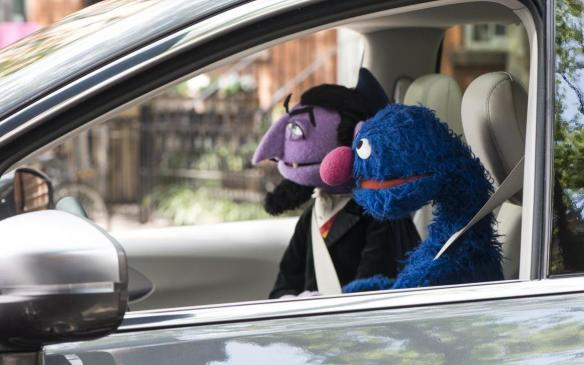 <p>Sesame Street characters the Count and Grover (l-r)</p>