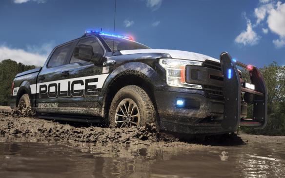 <p>2018 Ford F-150 Police Responder off-roading</p>
