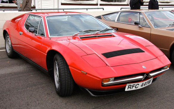 <p>The other member of the Italian triumvirate at the time was the Maserati Merak, and it kept up with its Ferrari and Lamborghini compatriots in stunning good looks and so-so performance. Merak took the Maserati Bora and fitted it with a smaller V-6 engine, extending the cabin backwards to create room for a pair of rear (children) seats. The smaller engine, reduced power and added weight of the rear seats meant a significantly underpowered Maserati, which is never a good thing. (Credit: Wikipedia/Brian Snelson)</p>