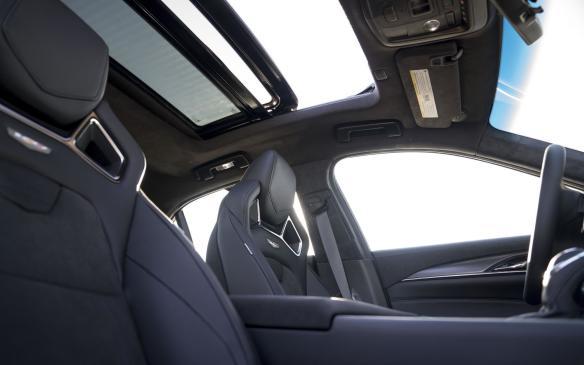 <p>2018 Cadillac CTS-V Glacier Metallic Edition cabin</p>