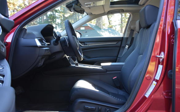 <p>The Accord's new sport demeanour is similar to that of its Civic sibling. It takes a sporty approach not only in design but also while sitting in the cockpit, by lowering its seating position by about 2.5 cm, placing the driver much closer to the road.</p>