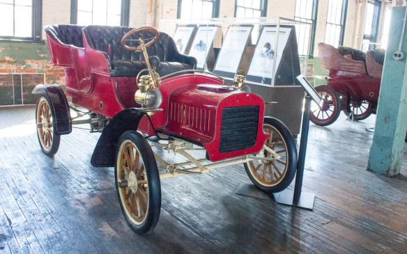 <p>The Model C, an updated version of the Model A, with a two-cylinder engine mounted beneath the seat, was among the first cars built at Piquette Avenue.</p>