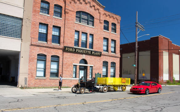 <p>Piquette Avenue was the second home and first purpose-built factory of the Ford Motor Company, Henry Ford's third – and first successful – attempt at auto manufacturing. The two windows on the second floor, left, were in Henry's original office, which has been reconstructed in the museum.</p>