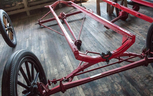<p>Simplicity was key to the Model T's design and construction, helping keep costs low enough to penetrate the mass market. Frames don't get much simpler than this flexible twin-rail setup, with no intermediate cross-members, nor do suspension systems.</p>