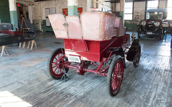 <p>The first model built by the Ford Motor Company, beginning in 1903 at a rented facility on Detroit's Mack Avenue, was called the Model A – not to be confused with the later Model A, which replaced the Model T in 1927. This unrestored original is a 'Rear-Entrance Tonneau' model, with entrance to the rear seat only from the rear.</p>