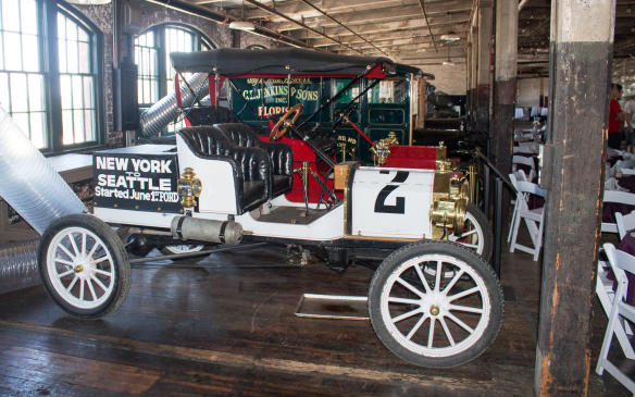 <p>Model T's were used to set numerous auto-related records. This replica pays tribute to a T that won an Ocean-to-Ocean race, from New York to Seattle, to celebratethe opening of the Alaska-Yukon-Pacific Exposition in 1909.</p>