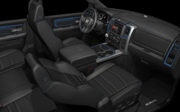 <p>2018 Ram 1500 Hydro Blue Sport interior</p>