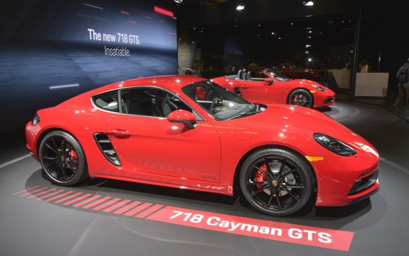 <p>Porsche pulled the wraps off four new variants of its multiple models, including new GTS versions of the 718 Boxster and Cayman GTS, both fitted with a 365-hp 2.5-litre engine and six-speed transmission. Also new was a 911 Carrera T that fits between the base Carrera and the Carrera S in the 911 lineup.</p>
