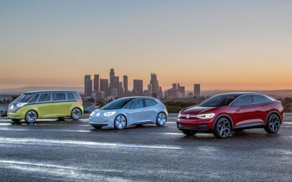 <p>Volkswagen I.D. lineup (l-r) -I.D. Buzz,I.D.,I.D. Crozz</p>