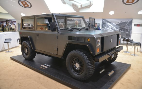 <p>A New York-based company called Bollinger Motors displayed what it described as the world's first all-electric, all-wheel-drive, off/on-road sport utility truck. Powered by two electric motors, it is said to have an output of 360 hp and 472 lb-ft of torque and offer 2,722 kg (6000 lb) payload and towing capacity, with 193 km (120 miles) of range.</p>