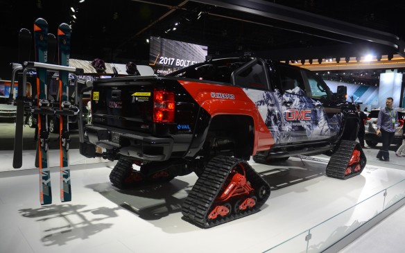 <p>With tracks in place of all four wheels, GMC's Sierra 2500HD All Mountain concept would be more at home in the mountains of Colorado than in downtown Los Angeles. The concept starts features a 445-hp Duramax 6.6-litre turbodiesel V-8 (generating 910 lb-ft of torque), Allison 1000 6-speed automatic, and all the luxury trimmings that come with the top-of-the-line Sierra trim designation.</p>