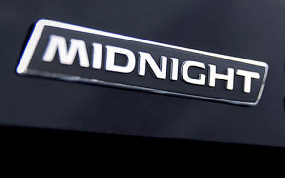 <p>2018 Nissan Titan Midnight Edition badge</p>