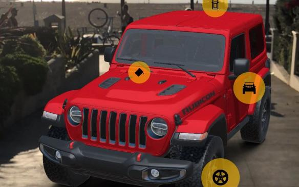 <p>Jeep Wranger in Jeep Adventure Reality app using augmented reality</p>